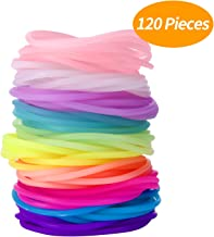 Senkary 120 Pieces Silicone Jelly Bracelets Rainbow Glow Bracelets Luminous Hair Ties for Party Favors, Adults, Women, Kids, Girls (10 Colors)