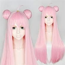 Xingwang Queen Anime 85cm Long Straight Pink Cosplay Wig with Double Buns Women Girls' Lonita Party Wigs