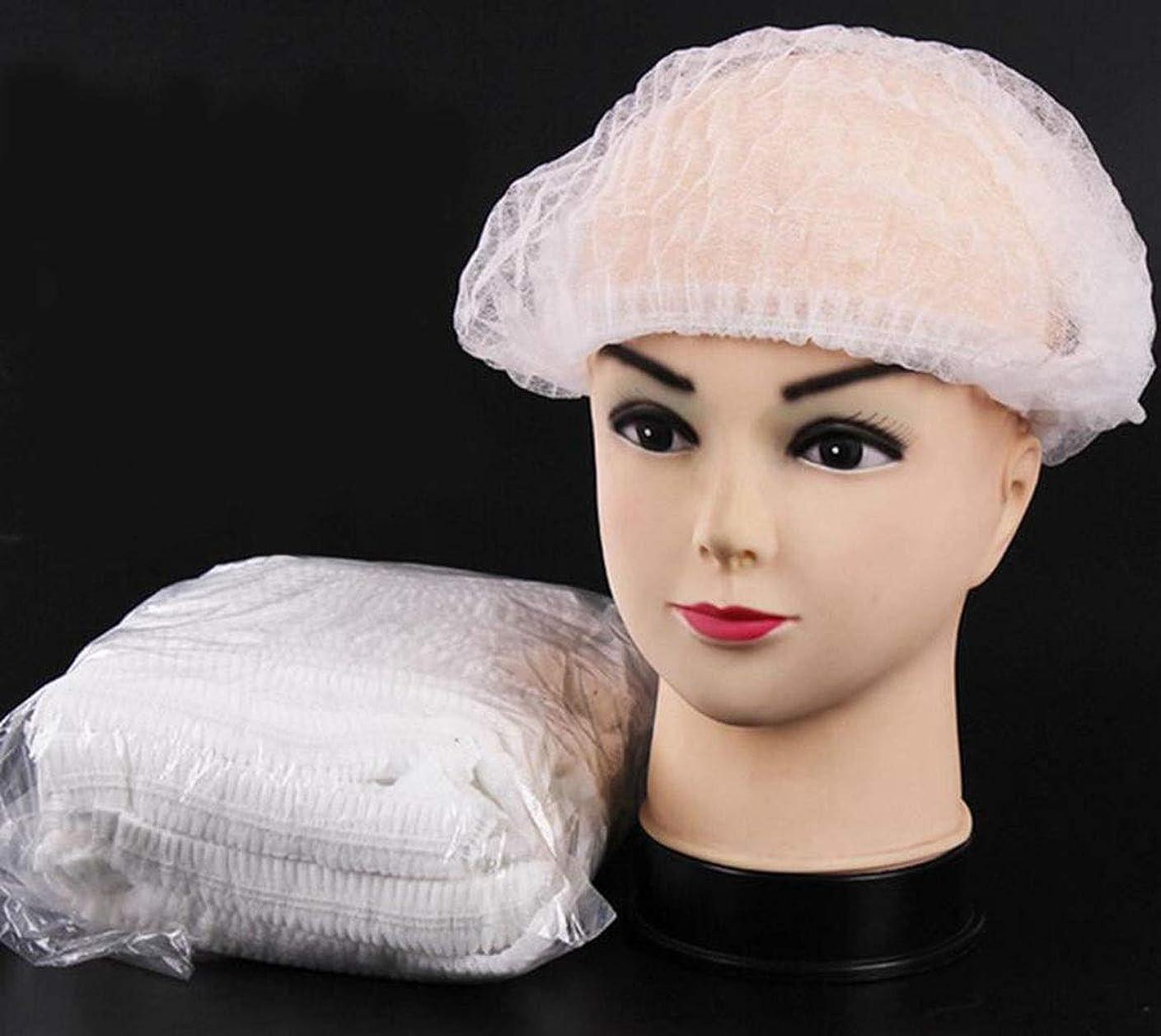 食品産業病院用使い捨て帽子ダブルリブ白不織布帽子使い捨て防塵キッチン食品加工ストリップメッシュキャップ(300) (Color : White)