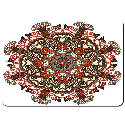 kThrones Antideslizante Alfombra De Baño,círculo Encaje Adorno Redondo Ornamental geométrico,Alfombra de Cocina Alfombra Mascota,Alfombras de Ducha 80x60cm