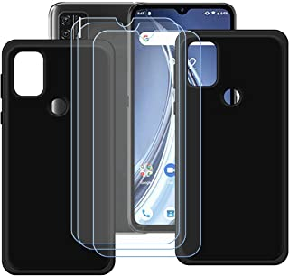 FZZ Case for Umidigi A9 + 3 Pcs Tempered Glass Screen Protector Protective Film,2 Pack Slim Black Soft Gel TPU Silicone Pr...