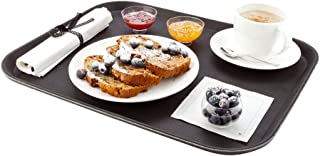 """Non-Slip Serving Tray, Food Tray - Heavy Duty, Commercial Grade - 14"""" x 18"""" Rectangular Tray - Black - 1ct Box - Met Lux -..."""