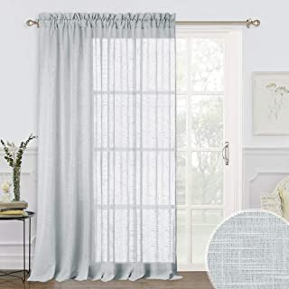 RYB HOME Decor Subtle Linen Texeure Pattern Sheer Curtains for Living Room, Morden Voile Drapes Glare Scattering for Bedroom Foyer Doorway Dining, Width 100 x Length 95, 1 Panel, Dove Grey