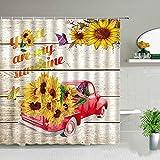 XCBN Tulpe Blume Duschvorhang LKW Sonnenblume Pflanze Schmetterling Landschaft Badezimmer Dekor Bildschirm Bad Vorhänge mit Haken A20 90x180cm