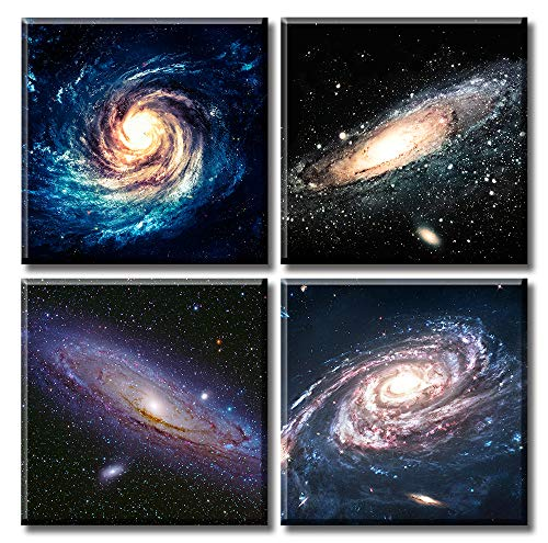 Universe Starry Sky Wall Art Outer Space Painting Pictures for Bedroom Galaxy Nebula Landscape Modern Wonderful Artwork Satellite Canvas Poster Office Livingroom Decor 12'X12'X4 Stretched and Framed Ready to Hang