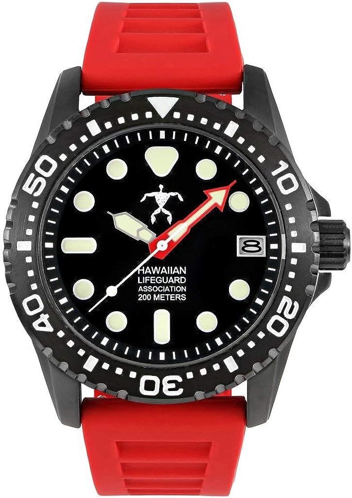 Hawaiian Lifeguard Men's OFFicial Official Watch Stainle Dive Association price