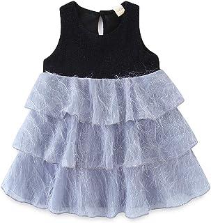 b94df6226f76 HILEELANG Little Girls Cotton Dress Sleeveless Casual Summer Sundress Flower  Printed Jumper Skirt
