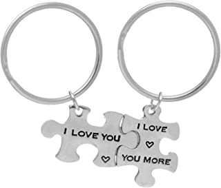 I Love You I Love You Most Puzzle Piece Alloy Keychains Jewelry Set - Valentines Day Best Your Men Women Boyfriend Girlfriend Gift
