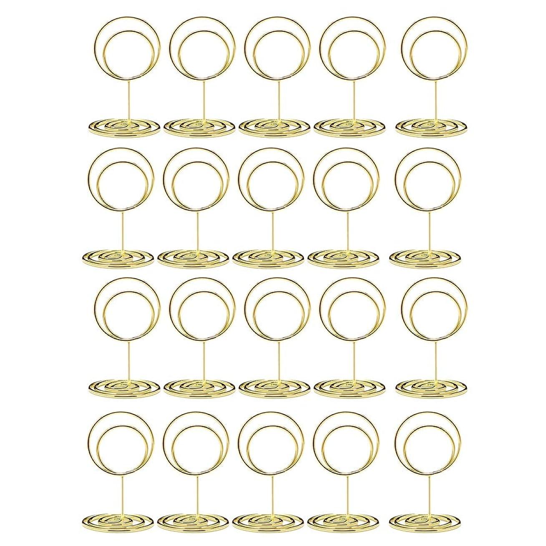バング捨てる比類のないACAMPTAR 20個のミニプレースカードホルダー、 2インチのかわいいテーブル番号ホルダー、 上品なテーブルカードホルダーテーブル画像スタンド、 エレガントなワイヤー写真ホルダーメニューメモクリップ、 結婚式のアイデア (ゴールド)