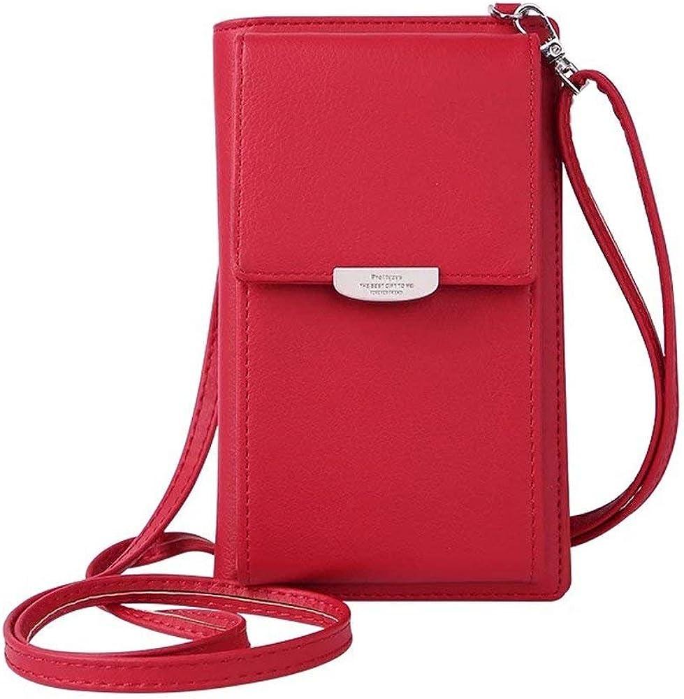 Hmilydyk, portafoglio, porta carte di credito, porta cellulare, in ecopelle, per donna, a tracolla GUBAG-PLAIN-RED