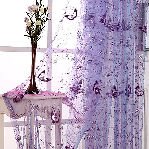 pureaqu Embroidery and Floral Butterfly Sheer Curtains Sequin Rod Pocket Process Voile Curtain/Drape Beautiful Tulle for Kids Balcony 1 Panel