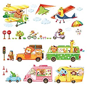 DECOWALL DAT-1806P1506C Animal Transports and Biplanes with Hang Glider Wall Stickers Kids Wall Stickers Wall Decals Peel and Stick Removable Wall Stickers for Kids Nursery Bedroom Living Room