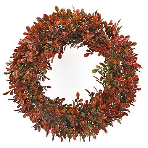 HUAESIN Türkranz Künstliche Eukalyptus Kranz Deko Wandkranz Kunstpflanzen für Wand Hochzeit Party Garten Fenster Kamin Indoor Dekoration Outdoor Feiern Rot