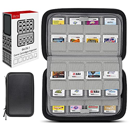Sisma Funda rígida para 64 Cartuchos de Juego Nintendo 3DS DS 2DS, Estuche de Juegos, Compatible con Cartuchos Switch o Tarjetas SD, Negro