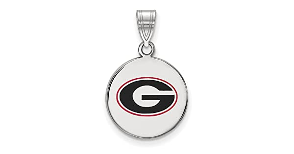 Solid 925 Sterling Silver University of Georgia Medium Pendant