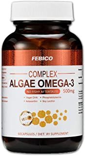 Algae Oil DHA, Astaxanthin, Phosphatidylserine, and Non-GMO Soy Lecithin Vegetarian DHA Dietary Supplement-60 Capsules,100% Nature Vegan Omega-3-Prenatal Formula-No Fishy Aftertaste