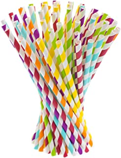 Paper Straws, 200 pack, Biodegradable Paper Drinking Straws, Multicolor Striped Straws for Parties, Carnivals and Crafts, By KGS Party Essentials