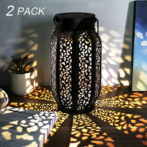 Maggift 20 Lumens Hanging Solar Lights Outdoor Retro Hanging Solar Lantern with Handle, Brown, 2 Pack
