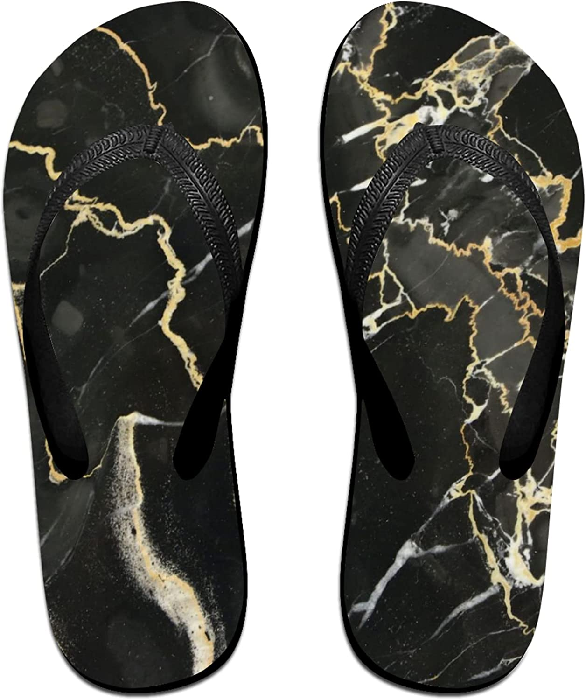 Black Marble Texture Flip-Flop Sandals for Summer Beach, Slippers for Men Women