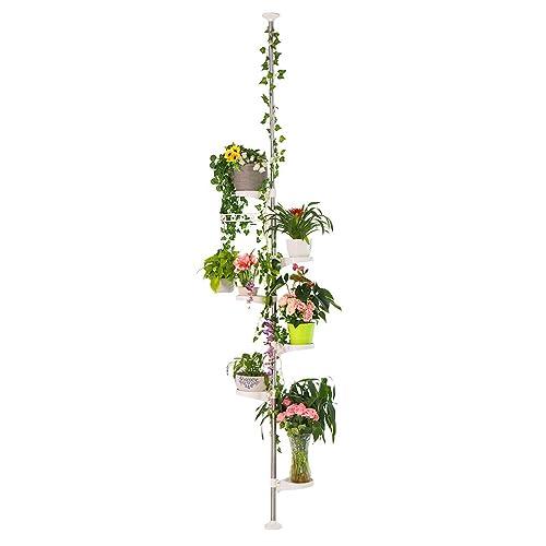 Baoyouni Poteau à 7 Étagères pour Plantes d'intérieur - Étagères de présentation de Fleurs, en Métal - Support de Pots de Coin, Compact