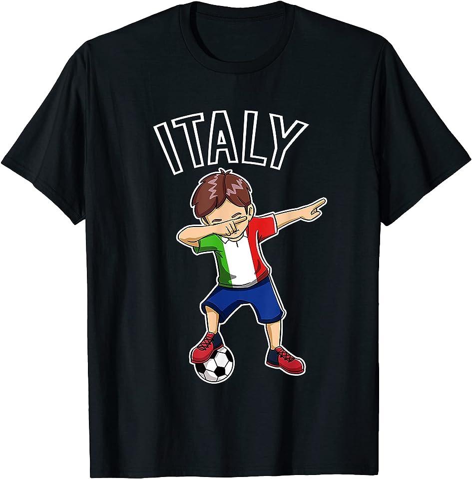 Dabbing Fußball Junge mit Italien Trikot Italy Kinder T-Shirt