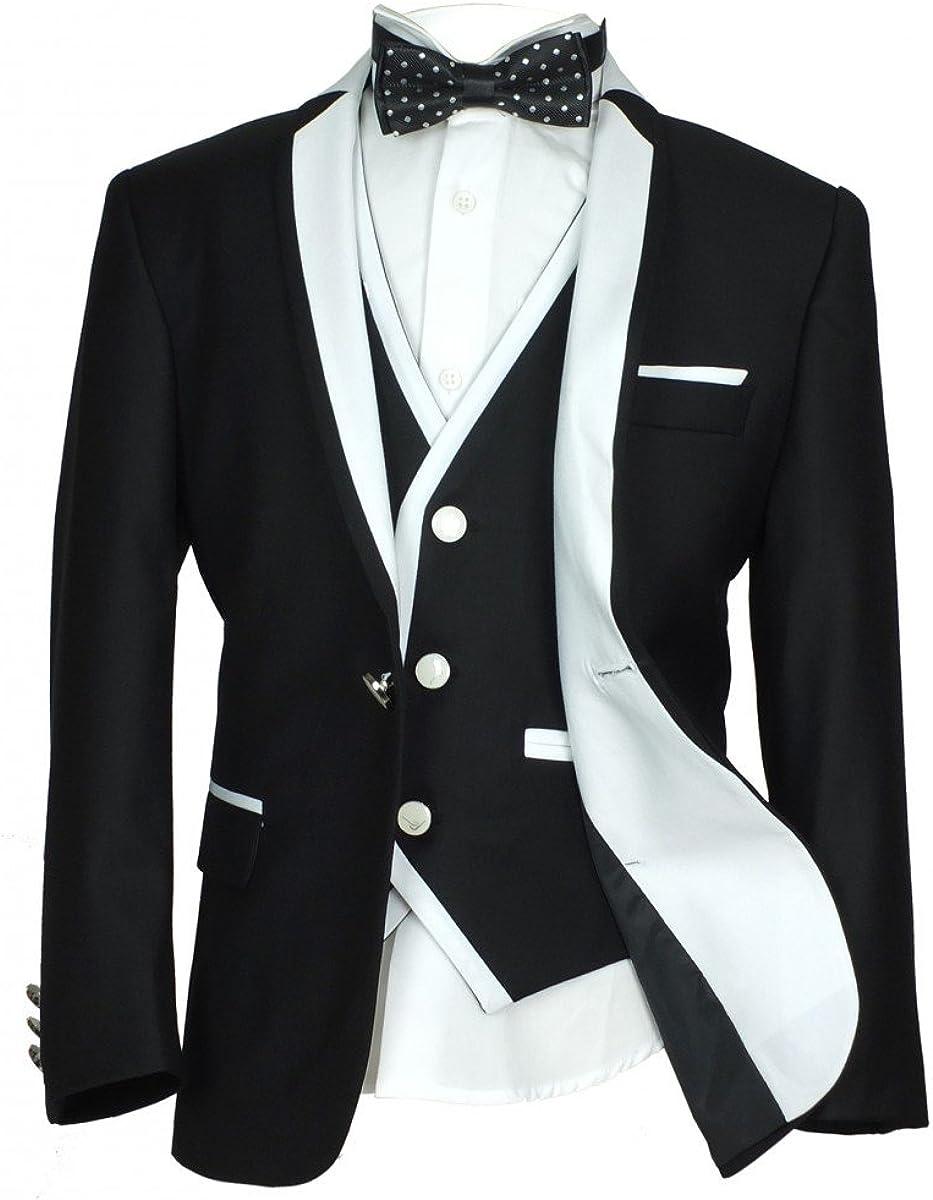 SIRRI 3 PC or 5 PC Exclusive Black & White Single Button Boys Suit