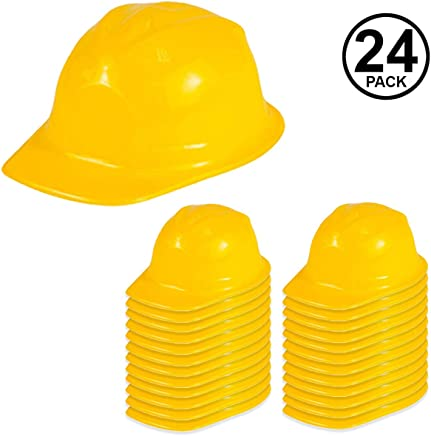 b9c8d41389a Funny Party Hats Construction Party Hats - 24 Pack - Construction Hats -  Soft Plastic Hats