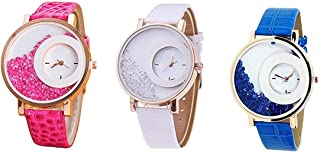 Raiyaraj Analogue Diamond White Dial Watch for Girls and Women Pack of 2