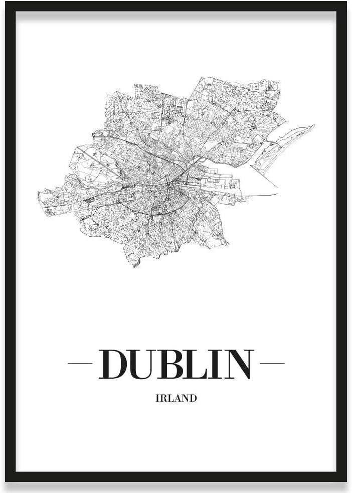 21 x 30 cm Poster Wei/ß W/ähle eine Gr/ö/ße JUNIWORDS Stadtposter Schrift A Dublin