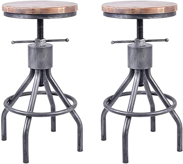 VINTAGELIVING Set Of 2 Industrial Bar Stool Vintage Counter Dining Chair Swivel Stools Tall Height Adjustable 22 30