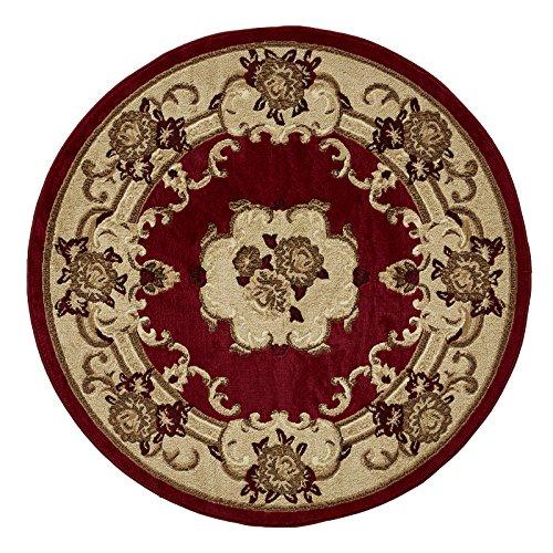 HomeLinenStore Traditionell Vier Weg Bound Design Superior Qualität Durable getuftet rund/Kreis Teppiche, rot–140x 140cm