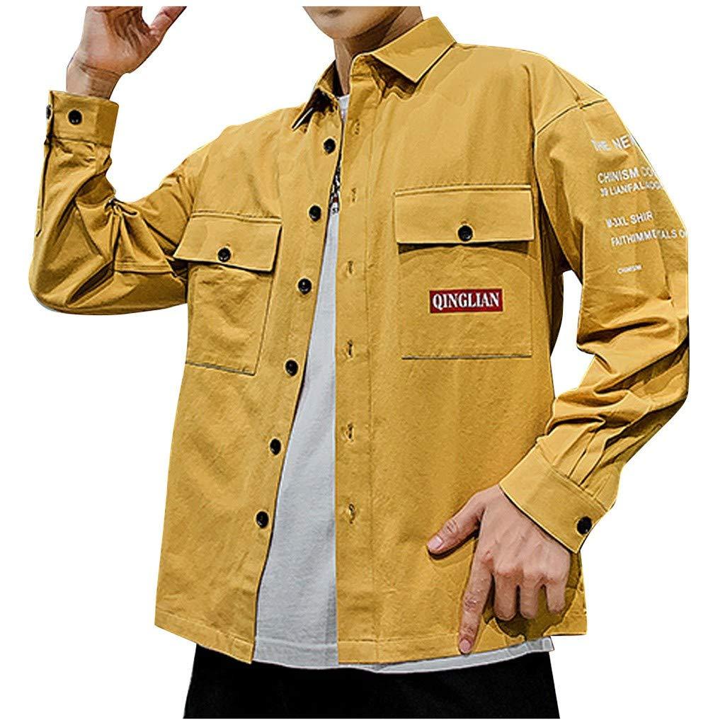 ZODOF camisa hombre camisas sport Nuevo Casual Comodo Moda Bolsillo Ropa de trabajo Carta Impresión Solapa Manga larga Blouse Moda para hombre camisa guapa camisa hombre(L,Amarillo): Amazon.es: Instrumentos musicales