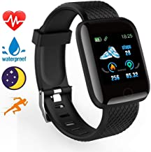 Smart Fitness Watch,Fitness Touch Screen Smart Wrist Watch Smartwatch Phone with Heart Rate Monitor Watch,Sleep Monitor Step Counter for Android iPhones/iOS IP68 Waterproof Smartwatch (Black)