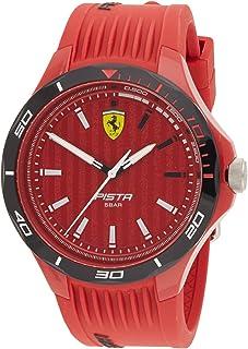 Ferrari Men's PISTA Quartz Watch with Silicone Strap, Red, 18 (Model: 0830781)