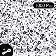 Whaline 1000 Pcs Acrylic Alphabet Beads White Beads with Black Letters A-Z Cube Beads with 10m Crystal String Cord for DIY Jewelry Making Craft Necklaces Bracelets Handmade Gift Educational Toys, 6mm