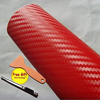 DIYAH 3D Red Carbon Fiber Film Twill Weave Vinyl Sheet Roll Wrap DIY Decals with Gift Knife and Hand Tool (120