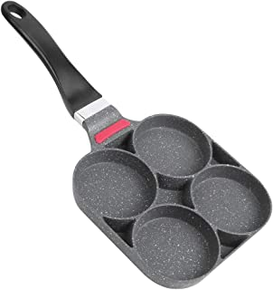 Black Pan Pancake Cooking Pan Aluminum Frying Pan Mold with Handle Kitchen Breakfast Tools for Egg Hamburger (Open-Fire Type)