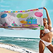 Antonia Reed Soft Bath Towel Kids Birthday,Singing Birds Happy Birthday Song Flags Cone Hats Party Cake Celebration,Multicolor,Super Absorbent Microfiber Custom Shower Towel for Home 20