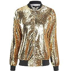 Gold Sequin Long Sleeve Zipper Bomber Jacket