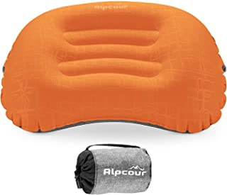 Alpcour Camping Pillow – Large, Inflatable, Ultralight Sleeping Pillow with Easy Blow Up Design, Soft Waterproof Exterior Cover and Compact Carry Case for Hiking, Backpacking, Airplane Travel & More