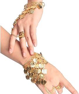 HugeStore Women Ladies Belly Dance Gypsy Jewelry Triangle Coin Bracelet Wrist Bangle Ring