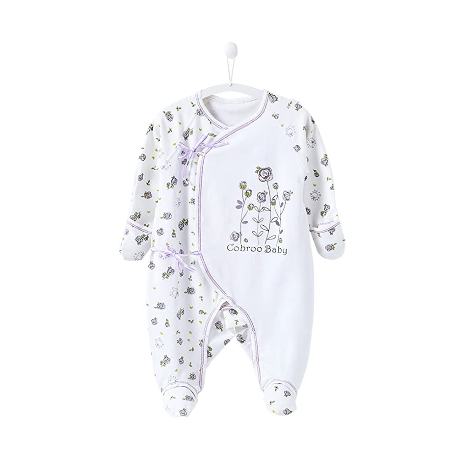 COBROO Baby Footies Pajamas with Mittens Allover Cloud Print Sleeper 100% Cotton Side-Belt Infant Footed Pajamas 0-3 Months