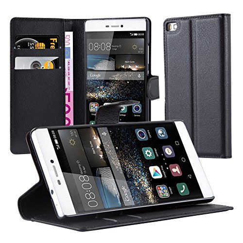 Cadorabo Funda Libro para Huawei P8 en Negro Fantasma - Cubierta Proteccíon con Cierre Magnético, Tarjetero y Función de Suporte - Etui Case Cover Carcasa