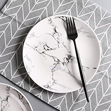 7.5  Natural Marble Design Ceramic Serving Platter Dining Dinnerware Set of 4