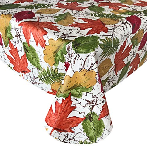 """Newbridge Rustic Leaf Contemporary Cottage Style Vinyl Flannel Backed Tablecloth - Bold and Colorful Country Leaves Print Kitchen Dining Print Easy Care Tablecloth, 70"""" Round"""
