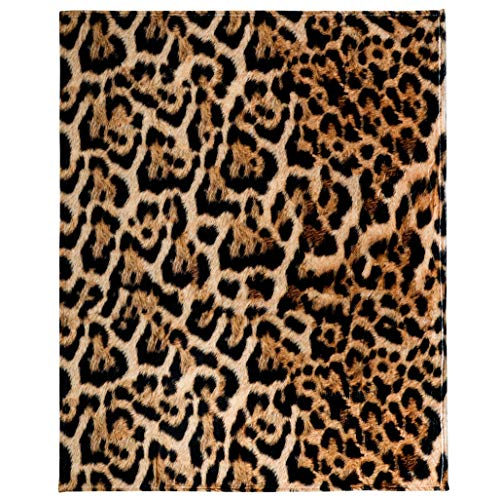 Leopard Print Throw Blanket, Adorable Super-Soft Extra-Large Leopard Blanket for Women, Girls, Teens and Children, Cute Fleece Leopard Blanket (50in x 60in) Warm and Cozy Throw for Bed, Crib or Couch