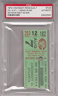 Eddie Mathews Manager Debut 1972 Atlanta Braves Slab Ticket Stub PSA 132085