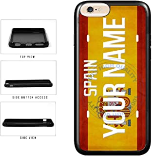 BleuReign(TM) Personalized Custom Name License Spain Plate TPU RUBBER SILICONE Phone Case Back Cover For Apple iPhone 6 Plus and iPhone 6s Plus (5.5 Inches Screen)