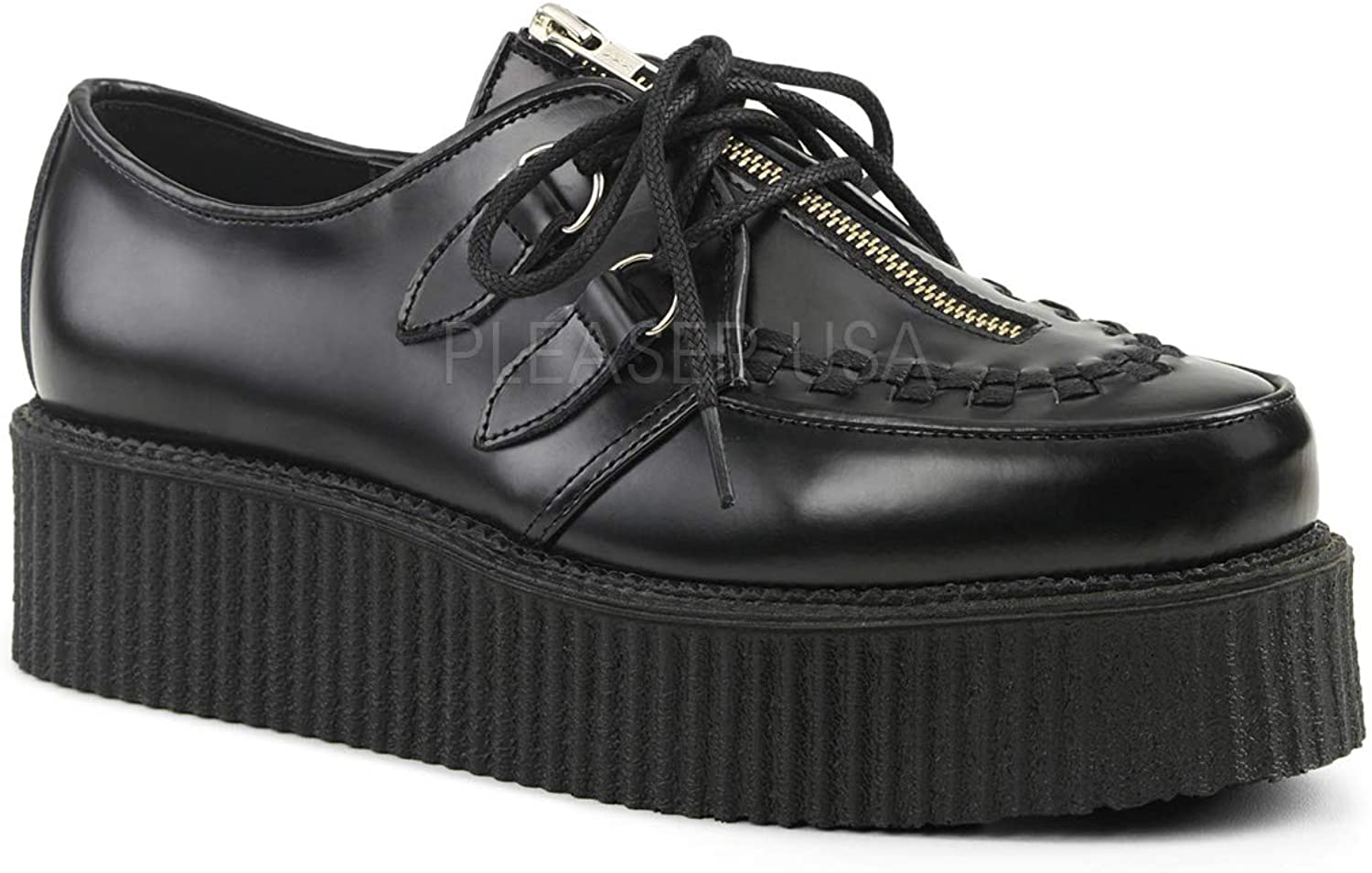 Demonia CREEPER-440 Punk Platform Creeper Goth shoes Front Zipper Lace Up Black