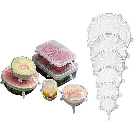 Tapas de Silicona Elasticas Mantener los Alimentos Frescos, Reutilizables, Duraderas y Expandibles para Adaptarse a Varios Tamaños para Tapas de Cuencos, Tazas, Enlatados, Macetas, 6, Color Blanco OrgaWise